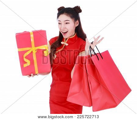 Woman Holding Shopping Bag And Red Gift Box In Concept Chinese New Year Celebration Isolated On A Wh