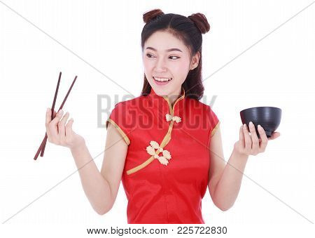 Woman Wearing Chinese Cheongsam Dress With Chopsticks And Bowl Isolated On A White Background