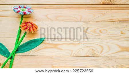 Module Origami Flowers With Paper And Modeles On Wooden Background. Present For Woman Day Or Valenti