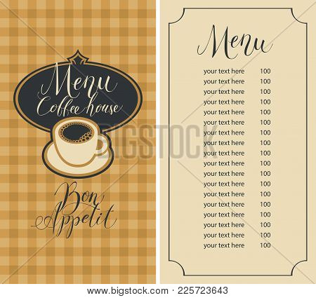 Vector Menu For Coffee House With Handwritten Inscriptions, A Coffee Cup And A Price List On The Bac