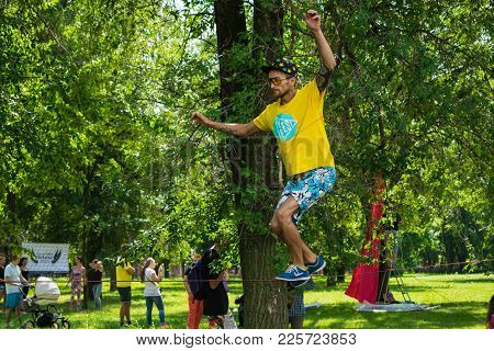 Kropivnitskiy, Ukraine - 29 Jule, 2017:  Performance Of Trickline Masters. Performing Stunts On The