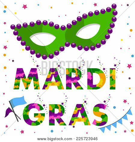 Mardi Gras Carnival Mask With Round Beads And Colored Text Mardi Gras. Vector Illustration