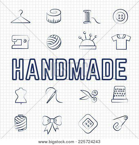 Handmade Hobby Linear Icons Set On Notebook Background. Vector Illustration