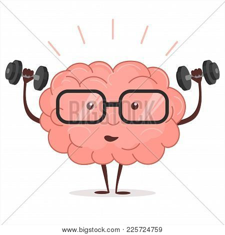 Brain Training With Dumbbells And Glasses On White Background, Human Train Intellect, Mind Fitnes Wo