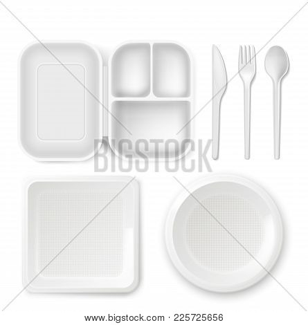 Disposable Plastic Dishware Plates And Cutlery Vector Illustration. 3d Realistic Lunch Box, Spoon, F