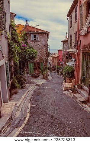Haut-de-cagnes, France - July 14, 2016. View Of Alley With Houses In Haut-de-cagnes, A Pleasant Vill