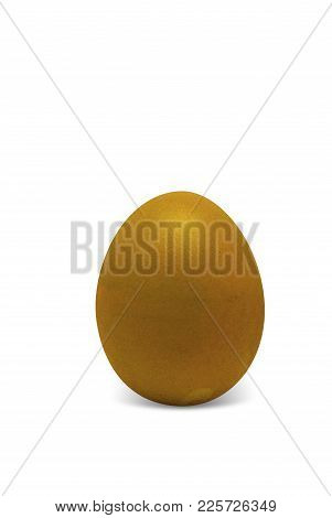 Gold Easter Egg Isolated On White Background, For Your Holiday Design
