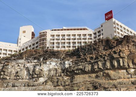 Gran Canaria, Spain - December 6, 2015: Exterior View Of Clubhotel Riu Vistamar In Gran Canaria, Spa