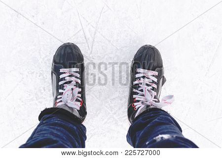 Ice Skates In Motion Top View Closeup