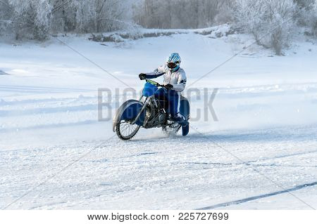 Motorcycle On The Ice Of The Frozen Lake Baikal
