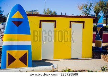 Beach Changing Rooms Blue Cabin Sea Dressing Room Lockers Room
