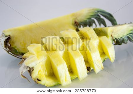 Pineapple With Slices Isolated On Light Gray. Pineapple, Ananas, Fruit.