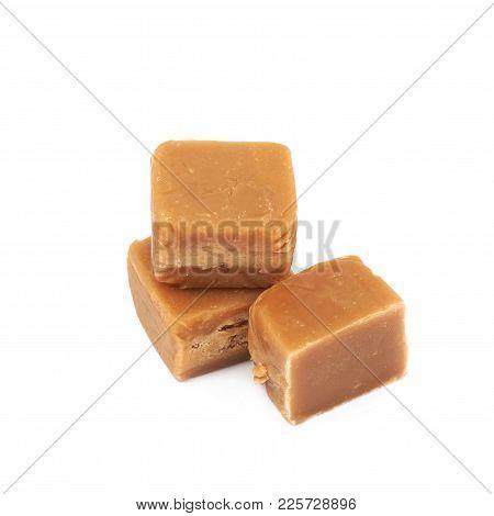 Scottish Whisky Fudge Candy Isolated Over The White Background