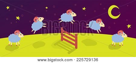 Count Lambs And Rams For Sleep. Baa-lamb. Jump Over The Fence. Vector