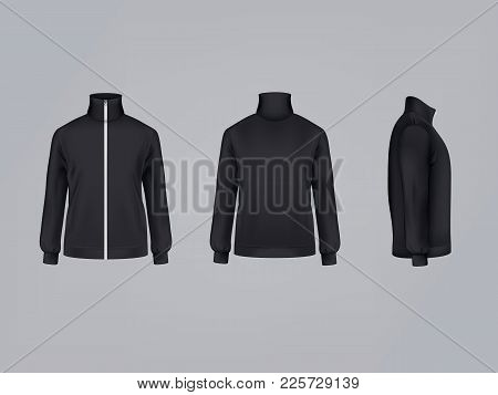 Sport Jacket Or Long Sleeve Black Sweatshirt Vector Illustration 3d Mockup Model Template Front, Sid