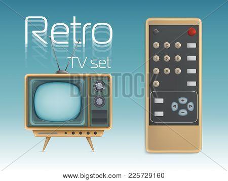 Retro Tv Set And Remote Control Vector Illustration. Vintage Screen Display Television Retro Icons D