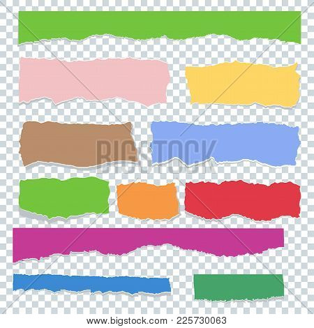 Scrap Paper Color Set. Torn Pieces Of White Sheet. Flat Vector Cartoon Illustration. Objects Isolate