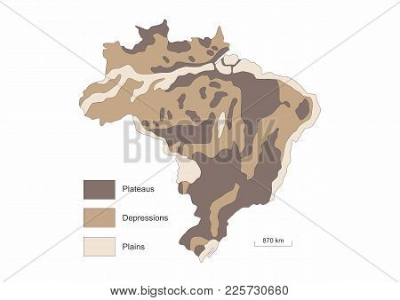 Physical Map Of Brazil Showing Relief Variations