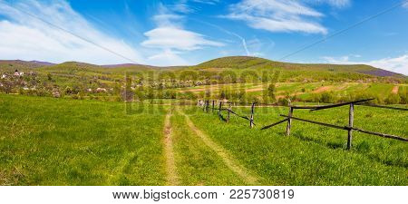 Panorama Of Mountainous Rural Area In Springtime. Lovely Countryside Scenery With Wooden Fence Along