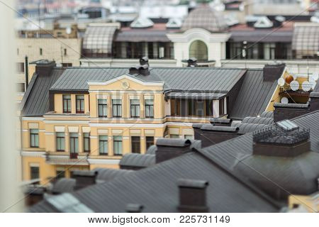 Tilt-shift Miniature City In Miniature At Home Roof Yellow Brown