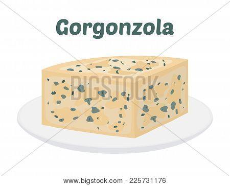 2852405 Vector Gorgonzola, Italian Blue Cheese On Plate. Cartoon Flat Style