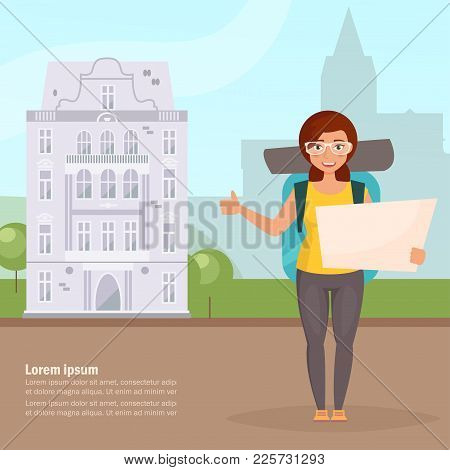 Hitchhiking. Woman Traveler With Backpack. Isolated Art. Vector. Cartoon Flat City