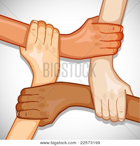 illustration of hands holding each other showing unity poster