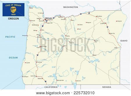 The Oregon Road Vector Map With Flag