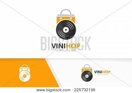 Vector Vinyl And Shop Logo Combination. Record And Sale Symbol Or Icon. Unique Music Album And Bag L