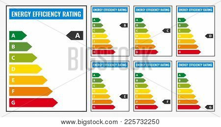 Energy Efficiency Rating Set Isolated On White Background
