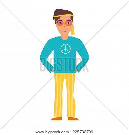 Vector. Cartoon. Isolated Art On White Background. Flat. Hippie In Striped Pants