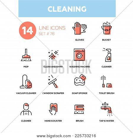 Cleaning - Line Design Icons Set. High Quality Black Pictogram. Gloves, Bucket, Mop, Clean And Shiny
