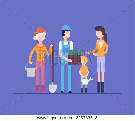 Family Does Gardening - Modern Flat Design Style Illustration Isolated On Blue Background. Smiling C