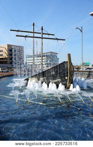 Dubai, Uae - November 19: The Fountain Decoration Of The Street In Dubai City On November 19, 2017 I