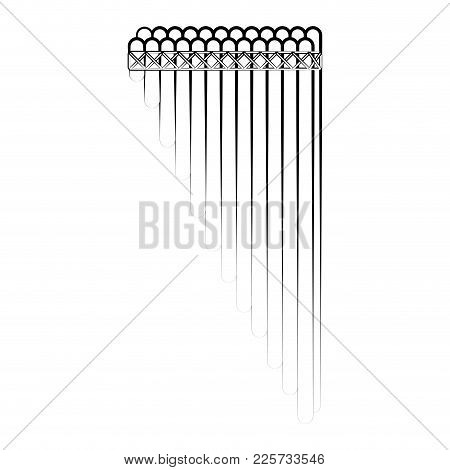 Isolated Panpipe Outline. Musical Instrument. Vector Illustration Design