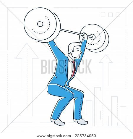 Businessman Lifting A Heavy Bar - Line Design Style Isolated Illustration On White Background. Metap