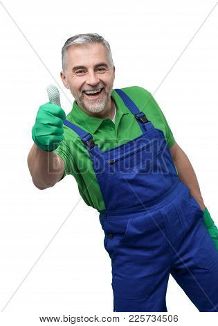 Happy Professional Gardener Giving A Thumbs Up