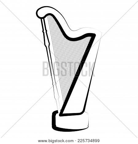 Isolated Harp Outline. Musical Instrument. Vector Illustration Design