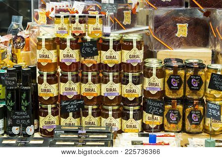 Barcelona, Spain - 11 January 2018: Products On Food Shelves In The Oldest Market Of Barcelona Boque