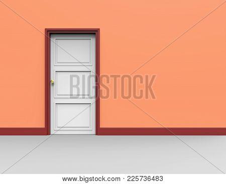 Empty Wall With One White Door, 3d Rendering