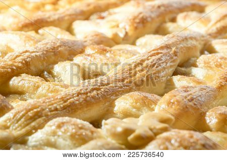 Macro Photography Of Baked Pie. Apple Pie. Baking Of Confectionery. Healthy Food. Close-up Of Baked