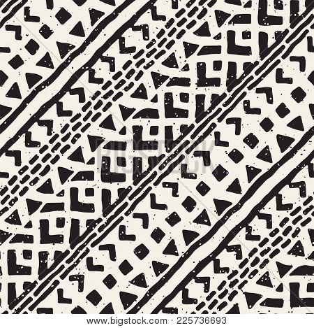 Seamless Ethnic And Tribal Pattern. Hand Drawn Ornamental Stripes. Black And White Print For Your Te