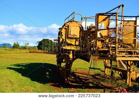 January 29, 2018 At Dole Plantation In Oahu Hawaii:  Vintage Farming Equipment On Display On A Field