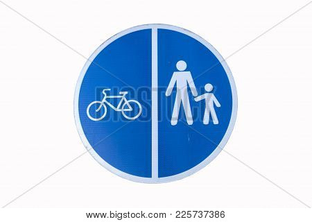 Pedestrian And Bicycle Shared Road Sign Isolated On White. Road Sign For Pedestrians And Cyclists Wh