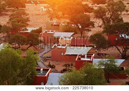Sossusvlei, Namibia - Jan 30, 2016:  Accommodation Units In The Sossusvlei Lodge. View From Above At