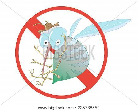Stop Mosquito - Sign. Vector Illustration For Label For Insect Control Service. Angry Mosquito. Funn