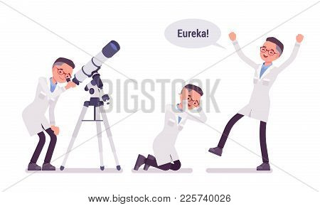 Male Scientist Happy With Eureka Result. Successful Expert Of Physical Or Natural Laboratory In Whit