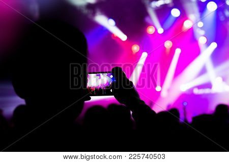 Taking Photo Video Mobile Phone Silhouettes Crowd