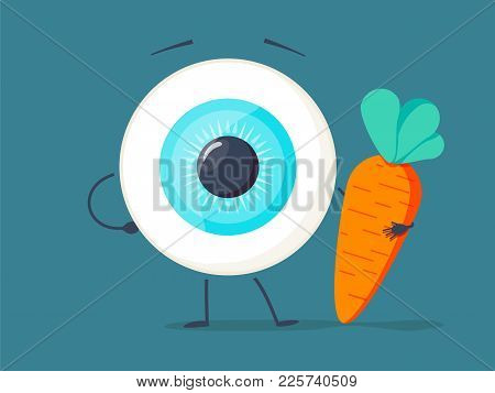 Strong Healthy White Eye, Eyeball With A Carrot Character. Vector Flat Cartoon Illustration Icon Des