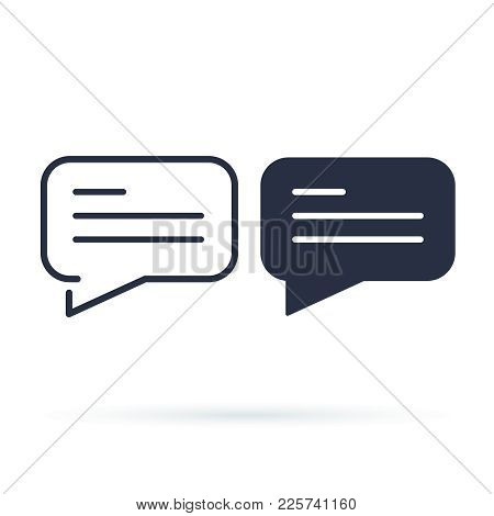 Chat Bubble Simple Icon. Line And Solid Version, Dialogue Outline And Filled Vector Sign. Linear And